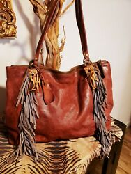 A.s 98 Distressed Imported Leather Fringed Handbag Nwot