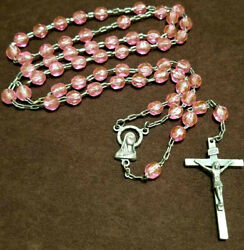 Vintage Catholic Italy Rosary Ab Faceted Beads Pink And Silver Tone 5 Decade