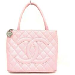 Auth Medallion Tote Bag Pink Leather 14704c73