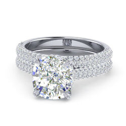 1.40 Ct Natural Diamond Solid 14k White Gold Engagement Ring Band Set Size 7 8 9