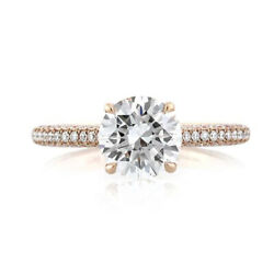 1.25 Ct Real Diamond Solid 14k Rose Gold Bridal Engagement Ring Size 4 5 6 7 8 9