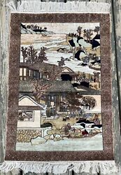 Antique Rare Handmade 100 Silk Chinese Art Deco Pictorial Fine Rug/tapestry,2x3