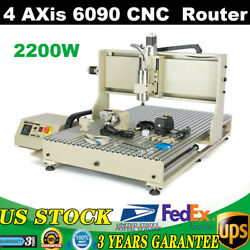 Usb 4 Axis Router Engraver Cnc 6090 Carving Milling Engraving Machine 2.2kw Vfd