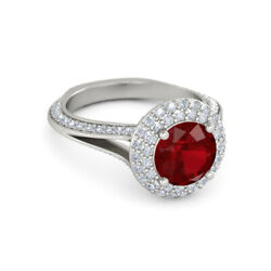 2.00 Ct Real Ruby 1.00 Ct Diamond 14k White Gold Anniversary Ring Size 7 9 8 5 6