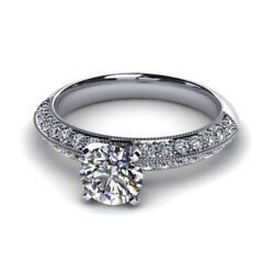 1.00 Ct Real Diamond 14k Solid White Gold Bridal Engagement Ring Sizes 5 6 7 8 9