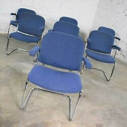 Vintage Tubular Chrome And Blue Fabric Cantilever Lounge Chair With Arms Set Of