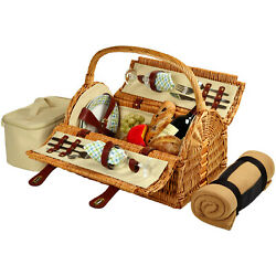 Picnic At Ascot Sussex Full Reed Willow Picnic Basket For 2 With Blanket 709b
