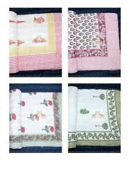 Kantha Bed Cover Hand Block Printed 100 Cotton Beautiful Designs Bedding Throw