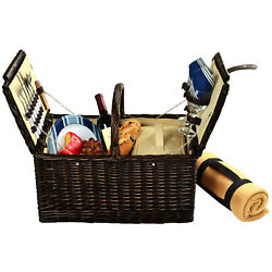Picnic At Ascot Surrey Full Reed Willow Picnic Basket For 2 With Blanket 713b