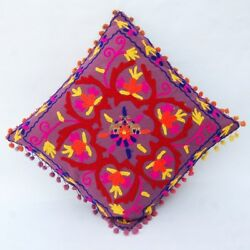 05 Pcs Suzani Embroidered Pillow Indian Cushion Cover Boho Vintage Pom Pom Throw