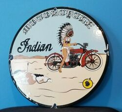 Vintage Indian Motorcycle Porcelain Service Station Pump American Chief Sign
