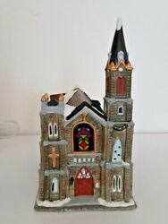 Christmas Village Church With Box And Light, Hand Painted Porcelain Hpx-51