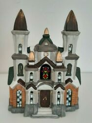 Christmas Village Church With Box And Light, Hand Painted Porcelain Hpx-56