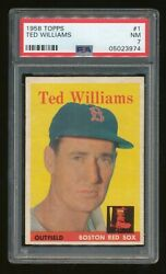 1958 Topps 1 Ted Williams Psa 7 Nm Red Sox