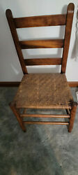 Antique 19th Century Shaker Straight Back Chair Wooven Seatgood Condition