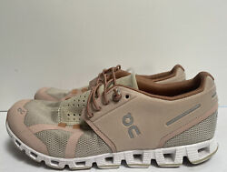 On Cloud Womenandrsquos Cushioned Knit Trainer Sneakers - Size 7.5 - Rose/sand