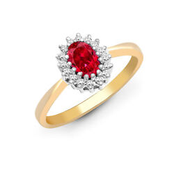 9ct Gold Diamond Red Ruby Classic Royal Cluster Ring 9mm