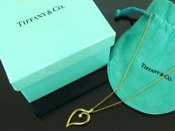 And Co. Necklace Pendant 750 Yellow With Gold Diamond Leaf Motif Stora