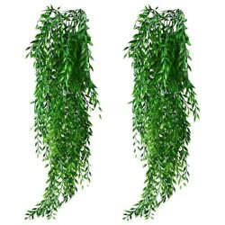 20x2pcs Artificial Hanging Plants Garland Fake Willow Leaves Ivy Vine For Wall
