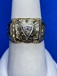 Vintage 14k Gold And Diamond 32nd Degree Double Head Eagle Masonic Ring Size 9.75