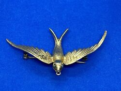 14k Yellow Gold Open Winged Bird With Turquoise Eyes Pin Or Brooch