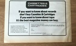 Stgsep1974 Pg604 Advert5x8 'cassettes And Cartridges' The Best Tape Magazine