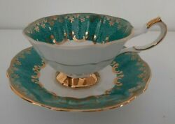 Vintage Queen Anne 226 Tea Cup Saucer Teal Gold Rimmed Bone China England
