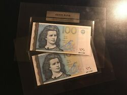 2x Estonia 100 Krooni Consecutive Numbers 1999 Unc In Bank Holder Banknote
