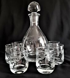 Vintage Czech Clear Etched Art Glass Wine Set Of 6 + Bottle With Stopper