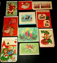 Nice Lot Unused 10 1950s 1960s Christmas Card With Envelopes Santa Angels ++