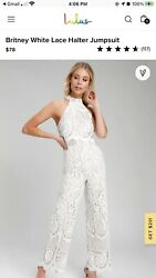 Lulus Britney White Lace Halter Jumpsuit - New With Tags. Size Small
