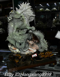 20and039and039 Unique Natural Green Jade 12 Zodiac Feng Shui Dragon Dragons Wealth Statue