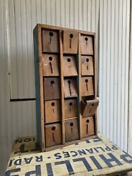 1900s Industrial 15 Drawer Hardware Store Primitive Cabinet Kitchen Nail Country