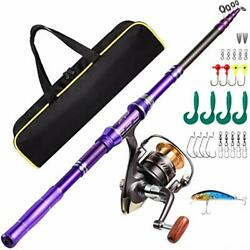 Telescopic Fishing Rod Kit Carbon Fiber Fishing Pole And Reel Combos With