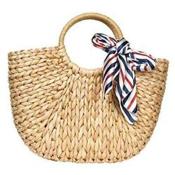 Womens Large Straw Bags Beach Tote Bag Handwoven Hobo Bag Brown With Scarf $44.98