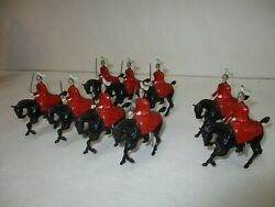Antique Britains Lead Soldier - Lot Of 7 Mounted Guards On Horses W/ 2 Officers
