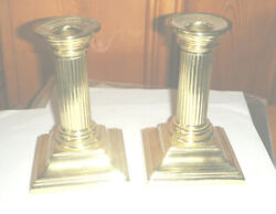 2- Vintage Baldwin Brass Smithsonian Institution 4.875 Candle Stick Holders