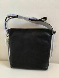 NWT Fossil Maya Small Leather Hobo Black Gold $129.99