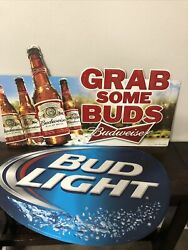 Official Budweiser Bud Light Grab Some Buds And Blue Oval Metal Signs 2001 2012
