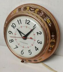 1950's Copper Painted Vintage Arts And Crafts General Electric Kitchen Wall Clock