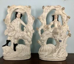 Antique Staffordshire Figurines Pair Lady Gentleman With Bird And Dog