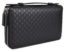 Gucci Black Leather Gg Guccissima Double Zip Travel Wallet $580.00