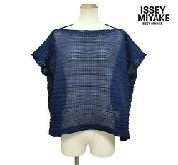 2018ss Issey Miyake Mesh Pleated Boat Neck Loose Shirt Blouse Navy Blue Size 2