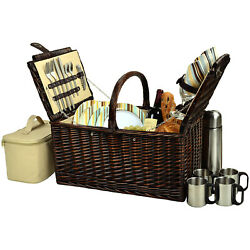 Picnic At Ascot Buckingham Full Reed Willow Basket For 4 W Coffee Service 714c