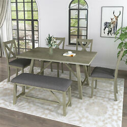 6pcs Dining Table Set Wood Dining Table Chair Bench Kitchen Table Set Rustic Sty