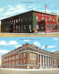 Rockford Illinois Il Elks Club And Masonic Temple Fraternal Orders 2 Postcards