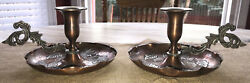 Pair Of Vintage Copper And Pewter Chamberstick Pillar Candle Holder Gorgeous