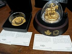 2020 Rcmp Musical Ride Gold-plated Sculpture 100 Pure Silver And 25 Mountie Hat
