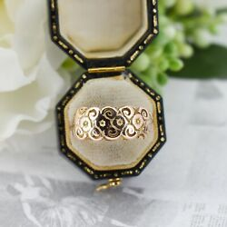 Antique Fancy Floral Pansy 9ct 9k Rose Gold Keeper Ring Victorian Edwardian