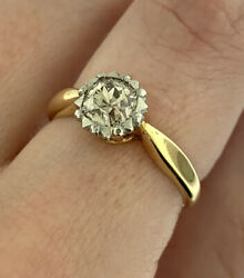 Vintage 0.80ct Champagne Old Cut Diamond Engagement Ring In 14k Y Gold Size 6.75